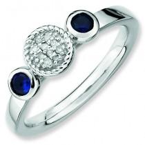 Round Sapphire Diamond Ring