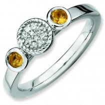 Round Citrine Diamond Ring