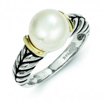 10mm Button Freshwater Cultured Pearl Ring
