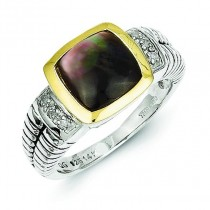 Black Mother of Pearl .03ct. Diamond Ring