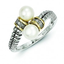 6mm Pearl Diamond By Pass Ring
