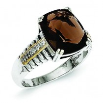 Smokey Quartz 0.03ct. Diamond Ring
