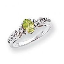 6x4mm Oval Peridot Diamond ring