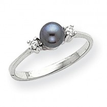 5mm Black Pearl Diamond Ring
