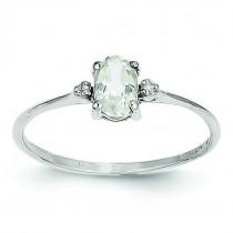 Diamond White Topaz Birthstone Ring