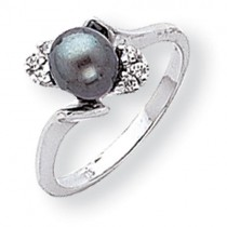6mm Black Pearl Diamond ring