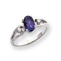 7x5mm Oval Amethyst Diamond ring