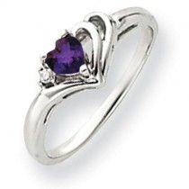 4mm Heart Amethyst Diamond ring