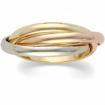 Three Band Rolling Ring in 14k Tri-color Gold