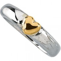Heart Ring in 14k Yellow Gold & Sterling Silver