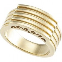 Scroll Pattern Channel Ring in 14k Yellow Gold