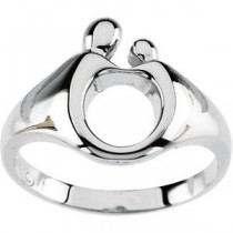 Mother Child Ring in 14k White Gold