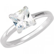 Stackable Princess Cut CZ Ring in Sterling Silver