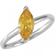 Stackable Citrine Colored CZ Ring in Sterling Silver