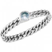 Stackable Aqua Colored CZ Ring in Sterling Silver