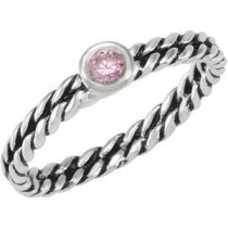 Stackable Pink CZ Ring in Sterling Silver