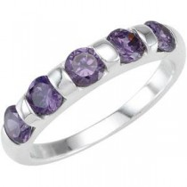 Stackable Amethyst Colored CZ Ring in Sterling Silver