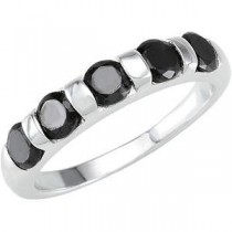 Stackable Black CZ Ring in Sterling Silver