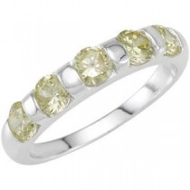Stackable Peridot Colored CZ Ring in Sterling Silver