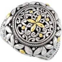 Filigree Design Ring in 18k Yellow Gold & Sterling Silver