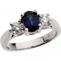 Sapphire Diamond Ring in Platinum