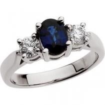 Sapphire Diamond Ring in Platinum