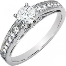 Moissanite Diamond Engagement Ring in 14k White Gold