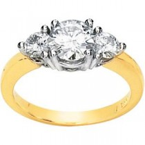Moissanite Three Stone Engagement Ring in 14k Two-tone Gold