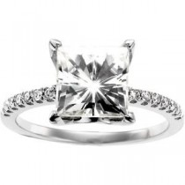 Moissanite Diamond Ring in 14k White Gold