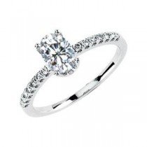 Oval Center Moissanite Diamond Ring in 14k White Gold