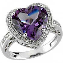 Heart Shaped Amethyst Diamond Ring in 14k White Gold