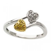 Natural Diamonds Heart Ring in 14k Two-tone Gold (0.08 Ct. tw.) (0.08 Ct. tw.)