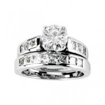 Moissanite Engagement Ring in 14k White Gold