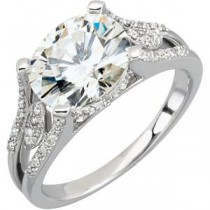 Moissanite Diamond Split Shank Ring in 14k White Gold