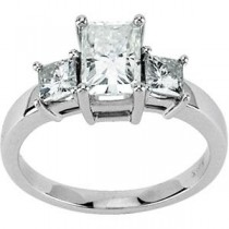 Moissanite Three Stone Ring in 14k White Gold