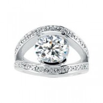 Moissanite Diamond Split-Shank Ring in 14k White Gold
