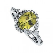 Peridot Diamond Ring in 14k White Gold