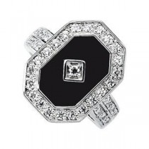 Onyx CZ Ring in Sterling Silver
