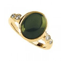 Jade Cabochon Diamond Ring in 14k Yellow Gold (0.16 Ct. tw.) (0.16 Ct. tw.)