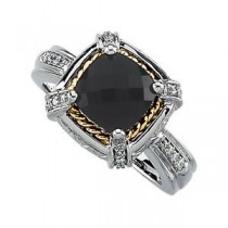 Checkerboard Onyx Diamond Ring in 14k White Gold & 18k Yellow Gold (0.125 Ct. tw.)