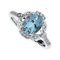 Aquamarine Diamond Ring in 14k White Gold (0.16 Ct. tw.) (0.16 Ct. tw.)