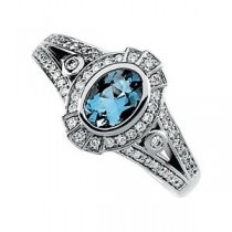 Aquamarine Diamond Ring in 14k White Gold (0.33 Ct. tw.) (0.33 Ct. tw.)