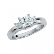 Moissanite Diamond Three Stone Anniversary Ring in 14k White Gold