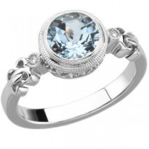 Aquamarine Diamond Ring in Sterling Silver (0.02 Ct. tw.) (0.02 Ct. tw.)