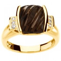 Carved Smoky Quartz Diamond Ring in 14k Yellow Gold (0.06 Ct. tw.) (0.06 Ct. tw.)