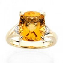 Checkerboard Citrine Diamond Ring in 14k Yellow Gold (0.16 Ct. tw.) (0.16 Ct. tw.)