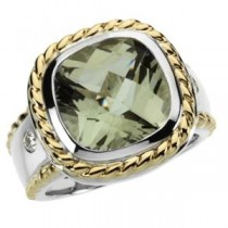 Green Quartz Diamond Ring in 14k Yellow Gold & Sterling Silver