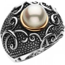 Freshwater Cultured Pearl Ring in 14k Yellow Gold & Sterling Silver