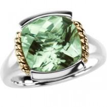 Checkerboard Green Quartz Ring in 14k Yellow Gold & Sterling Silver