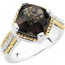 Smoky Quartz Diamond Ring in 14k Yellow Gold & Sterling Silver